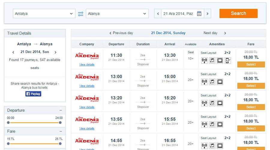 Расписание автобусов в Турции