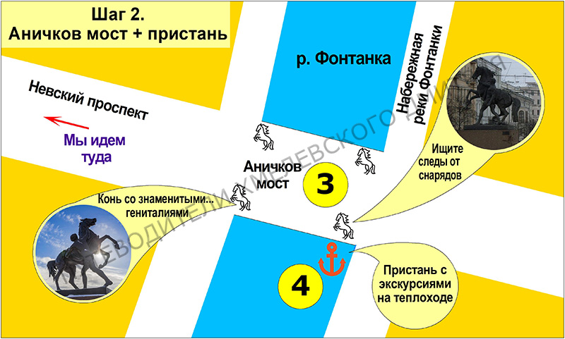 Шаг 2. Аничков мост со скульптурами, у которых есть секреты, + пристань, откуда можно уплыть до крейсера «Аврора».