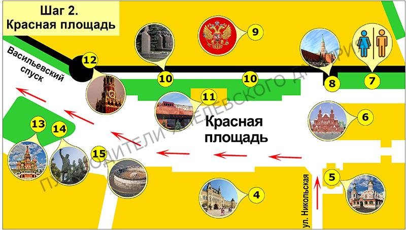 Шаг 2. Что и где расположено на Красной площади.